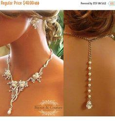 Bridal jewelry set bridal necklace backdrop by GlamDuchess on Etsy