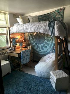 80 Fantastic Small Apartment Bedroom Design ideas and decor for the college - Bedroom Small Apartment Bedrooms, Cute Apartment, Small Apartments, Apartment Design, Attic Bedrooms, Teen Bedrooms, Girls Bedroom, Dorm Room Designs, Dorm Room Layouts
