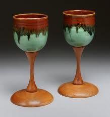 pottery goblets - wood & pottery