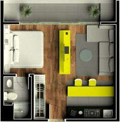 Small Studio Apartment Layout Design Ideas – home design - Modern Studio Apartment Floor Plans, Studio Apartment Layout, Small Studio Apartments, Studio Layout, Studio Apartment Decorating, Studio Design, Apartment Ideas, Apartment Living, Small Apartment Plans