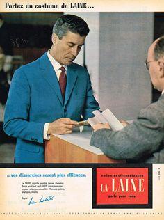 PUBLICITE ADVERTISING 124 1960 LA LAINE costume homme in Collections, Objets publicitaires, Publicités papier | eBay
