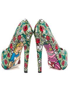Chaussure alice au pays des merveilles talons haut fleur