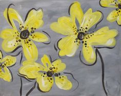 Yellow flowers canvas painting