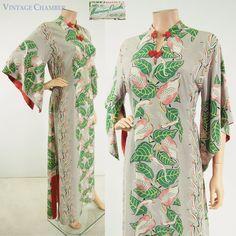 Vtg 40s Silky Rayon HAWAIIAN CASUALS Pake Mu Muu Anthurium Print Dress Gown M #HawaiianCasualsHonolulu #CaftanHostessGownFloralPrintAngelSleeves #Casual