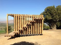 Galería de Mirador del caminante Poqui en Coltauco, Chile - 17 Container Shop, Garden Pavilion, Park Landscape, Wood Structure, Garden Studio, Pergola With Roof, Mountain Homes, Concept Architecture, Play Houses