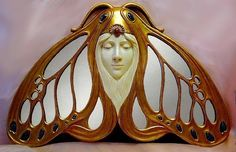 Lady Moth Art Nouveau Hanging Mirror, early 1900's (Maker Unknown)