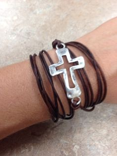 Open Cross Silver with Brown Leather Wrap Bracelet.  Item # Available at Impulse Gifts 812.481.2880 We ship daily.   https://www.facebook.com/ImpulseJasper