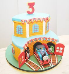 - My first ever Thomas the train cake made for my son's 3rd birthday. His request was for a chocolate cake covered in orange sugarpaste with Thomas the train. My son was thrilled when he saw the cake and that made me really happy. Decorations all handmade from fondant + tylose.