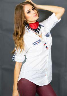 Marina Roll-Tab Sleeve Shirt, Casual Marine look blouse Shirt Blouses, Shirts, Shirt Sleeves, Long Sleeve, Happy, Casual, Tops, Women, Fashion