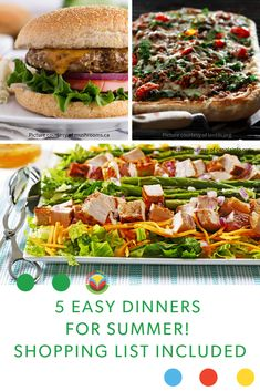 5 Easy Summer Meals with a Shopping List - Canadian Food Focus Oats Recipes, Meal Recipes, Barley Recipes, Mushroom Recipes, Fruit Recipes, Bison Recipes, Pork Recipes, Dairy Recipes, Vegetable Recipes