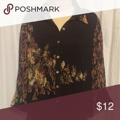 Coldwater Creek Black Floral Crinkle Top S French cuff. Sheer floral paisley top. Excellent condition. 100% Polyester. Coldwater Creek Tops Blouses