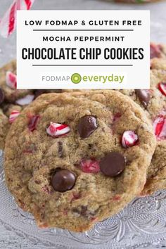 Mocha Peppermint Chocolate Chip Cookies are super easy, low FODMAP and the perfect holiday host gift - or make as a treat for yourself. #glutenfree #vegetarian #delish #dessert #christmascookies #lowfodmapdiet#fodmap #lowfodmap #fodmapeveryday #ibs #ibsdiet
