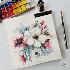 Varying my style but still using the loose technique. It amazes me when you change the way you do your brush markings, speed & even colors can make a whole new style. Also started to play around with white flowers. Watercolor Cards, Watercolour Painting, Watercolor Flowers, Watercolours, Watercolour Tutorials, Ink Drawings, Gouache, Art Music, Painting Inspiration