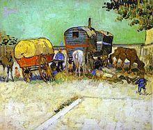 Encampment of Gypsies with Caravans - Vincent van Gogh Completion Date: 1888 Place of Creation: Arles, France . - Vincent van Gogh - Completion Date: 1888 Place of Creation: Arles, France . Art Van, Van Gogh Art, Vincent Van Gogh, Claude Monet, Desenhos Van Gogh, Van Gogh Pinturas, Van Gogh Paintings, Canvas Paintings, Canvas Artwork
