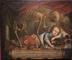 Vanitas: The Child Jesus and Death (anonymous) oil on canvas. Memento Mori Art, Colonial Art, Spanish Colonial, Wellcome Collection, Danse Macabre, Mural Painting, Surreal Art, Dark Art, Beautiful Images