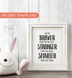 Printable Disney quote, WINNIE THE POOH, Disney quote wall art, you are braver than you believe, Disney typography, hand lettered quote art