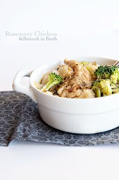 Rosemary Chicken with Broccoli in Broth ~ An adapted Weight Watchers recipe, this Rosemary Chicken with Broccoli in Broth makes for a comforting and healthy dinner. Click through for recipe from dineanddish.net