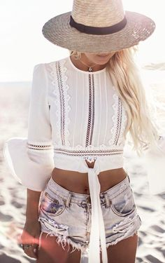 #summer #outfits  Light Hat + White Lace Crop + Ripped Denim Short 💛💛💛