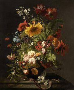 Simon Verelst 1644-c.1710/17 Vase of flowers. Lent by the Syndics of the Fitzwilliam Museum, Cambridge