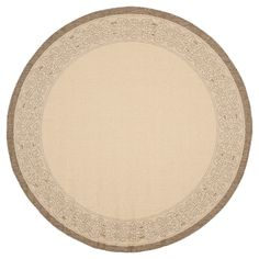 Antibes Border Round 6'7 Outdoor Patio Rug - Natural / Brown - Safavieh, Natural/Brown