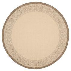 "Antibes Border Rectangle 5'3"" X 7'7"" Patio Rug - Natural / Brown - Safavieh, Natural/Brown"