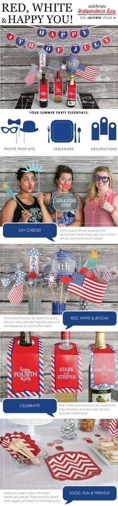 Fourth of July Party Ideas - Red White and Blue Party Ideas #BigDot