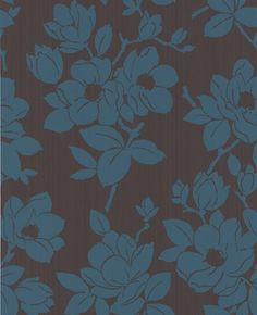 Rose: Chocolate / Teal Wallpaper