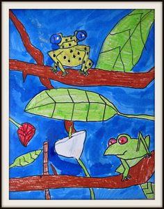 Tree frogs using oil pastels and watercolors from marymakingblogspot