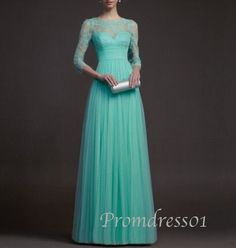 2015 elegant 3/4 sleeves vintage light green lace chiffon long prom dress for teens, ball gown, prom gown, evening dress, cute dress #promdress
