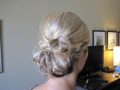 Loose messy low chignon