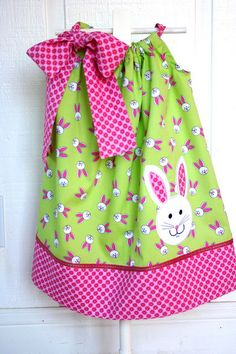 Bunny pillowcase dress-Pink/Green by iveyc95, via Flickr