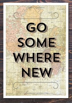 20% OFF SALE! Go Somewhere New Travel-Inspired Map Poster, starting at $15.00.