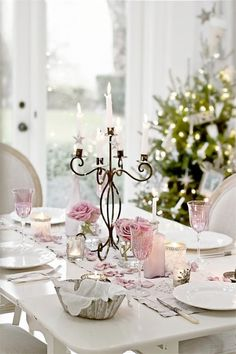Our dining table all set for a formal evening. I can't believe my Pink roses are still blooming.......