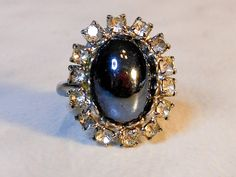 Adjustable Hematite Rhinestone Diamond Ring   Size 7  Adjustable by GemstoneCowboy on Etsy