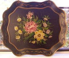 Flowers are very unusual and very country or wildflower type! Painted Trays, Hand Painted, Metal Trays, Tole Painting, Metallic Paint, Beautiful Hands, Heavy Metal, Plates, Tableware