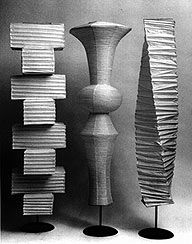"""On Becoming an Artist: Isamu Noguchi """"Everything is sculpture. Any material, any idea without hindrance born into space, I consider sculpture."""" – Isamu Noguchi Isamu Noguchi was one of the. Noguchi Lamp, Isamu Noguchi, Lamp Design, Lighting Design, Mid Century Lighting, Modern Floor Lamps, Vintage Lighting, Modern Lighting, Paper Lanterns"""