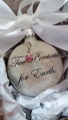 Child Loss Memorial Ornament Too Precious for Earth Birthstone Charm Miscarriage Christmas Ornament Infant Loss Sympathy Gift Pregnancy Loss Christmas Balls, Christmas Crafts, Christmas Decorations, Christmas Ornaments, Christmas Ideas, Xmas Baubles, Grave Decorations, Christmas Stuff, Christmas Holidays