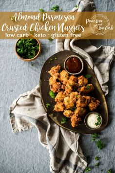 These Almond Parmesan Crusted Keto Chicken Nuggets are a low carb and gluten free version of a classic favorite childhood (and adult) treat. Now you can enjoy them in a much lighter and healthier version. Sugar Free Recipes, Low Carb Recipes, Real Food Recipes, Parmesean Crusted Chicken, Keto Diet Guide, Food Articles, Keto Chicken, Chicken Recipes, Chicken Nuggets