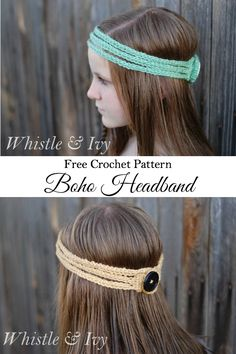 Free Crochet Pattern - This stretchy boho headband works up quick and is a perfect accessory for warmer months! {Pattern by Whistle & Ivy}