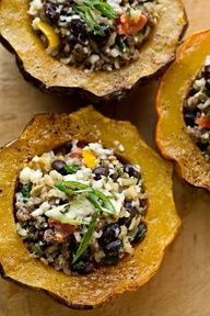 Stuffed Acorn Squash | filled with brown rice + black beans + sharp cheddar = healthy food perfection