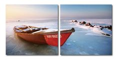 Retired for the season, the red rowboat rests retired along the frozen shore. This frosty image is a diptych: printed on two separate pieces of waterproof vinyl and mounted to two hollow MDF wood fram
