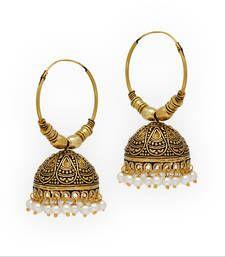 5f8f85e40 Buy Jaipur Oxidised Black Metal Gold Plated Bali Jumki Style Earrings jhumka  online Antique Jewellery Online