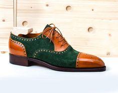 Handmade two tone green tan Oxford Shoes, Dress formal shoes, Men's bespoke shoe Lace Up Shoes, Men's Shoes, Shoe Boots, Dress Shoes, Shoes Men, Dress Clothes, Hot Shoes, King Shoes, Oxford Shoes Outfit