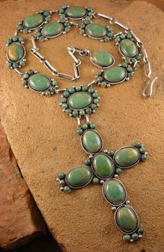 David Lister ~ Royston Turquoise cross necklace and earrings.  $1950.00 for the set. Turquoise Tortoise Gallery, Sedona
