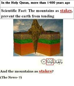 Miracles of the Holy Quran. Islam And Science, Earth Science, Life Science, Quran Verses, Quran Quotes, Islamic Quotes, Miracles Of Islam, Supernatural Facts, La Ilaha Illallah