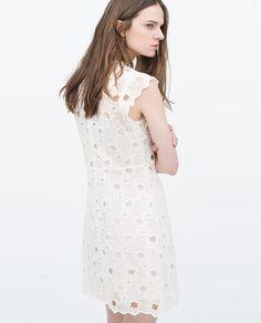 GUIPURE STARS DRESS white dress by ZARA