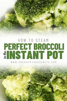 Zero-Minute Broccoli - Want perfect steamed broccoli every time? Use your Instant Pot. Steaming broccoli in the Instant Pot is so quick and easy. It's the only way I cook broccoli now. Great for lot's of Instant Pot recipes. Steamed Broccoli, Broccoli Recipes, Vegetable Recipes, Instant Pot Veggies, Instant Pot Steamed Vegetables, Pressure Cooking Recipes, Cooking Tips, Best Instant Pot Recipe, Instant Recipes