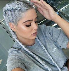 fashion, grunge, hair, hairstyles, lifestyle, makeup, silver hair, dutch braids