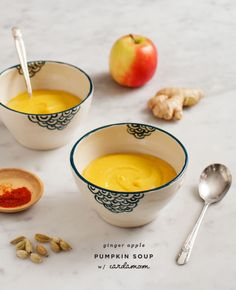 Ginger-Apple Pumpkin Soup - This Ginger-Apple Pumpkin Soup recipe makes a delicious creamy soup with coconut milk, ginger, and cardamom. It's perfect for fall.