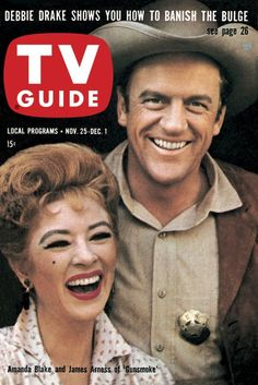 "TV Guide: November 25, 1961 - Amanda Blake and James Arness of ""Gunsmoke"""